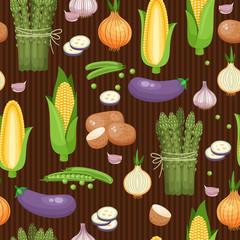 Asparagus, corn and peas seamless background