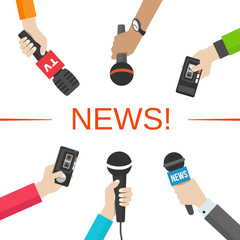 News, journalism concept. Hands with microphones and dictaphones