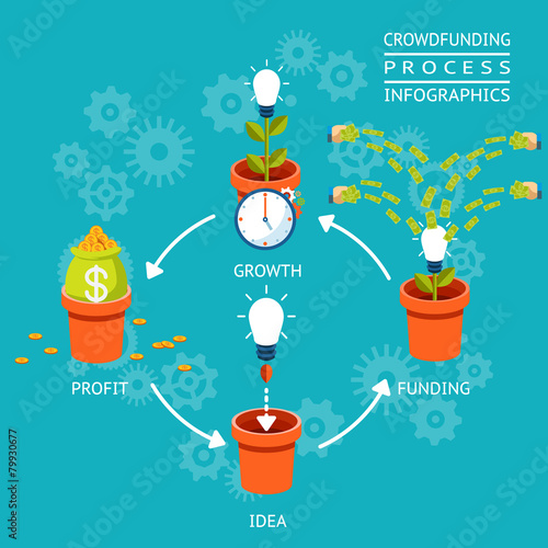 Crowdfunding process infographics - 79930677