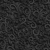 Vector black floral seamless pattern with shadow for invitation