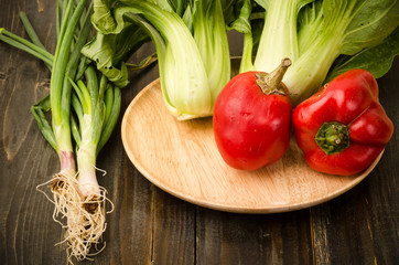 Organic sweet pepper,spring onion and chinese cabbage