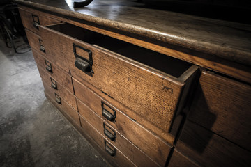 wooden drawers old vintage retro style