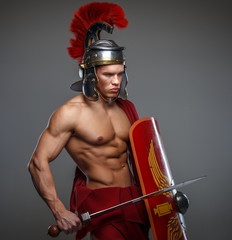 male dressed in roman armor