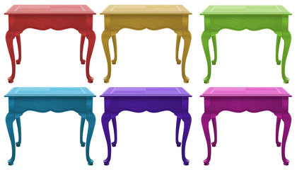 Colourful wooden tables