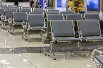 Moscow, Russia. Rows of seats in the airport
