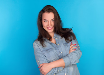 beautiful smiling girl in a denim shirt
