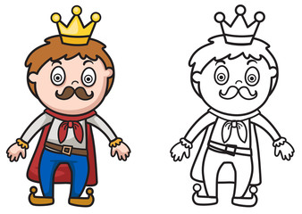 colorful and black and white king for coloring book