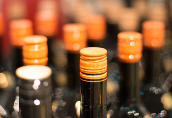 Wine bottles in the wine store.