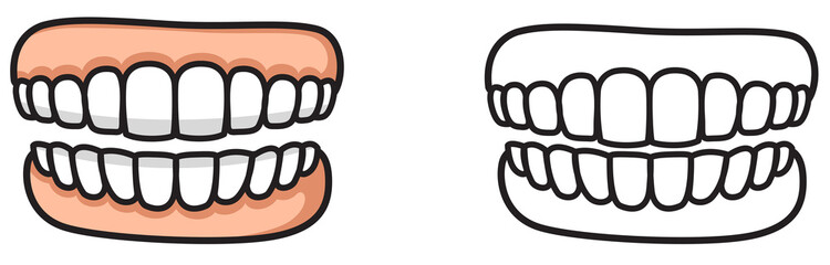 colorful and black and white tooth for coloring book