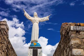 Christ statue, a monument  Huascaran, Peru