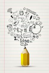 write doodle idea on notebook paper.
