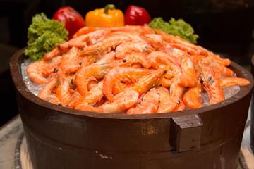 Boiled shrimp on ice