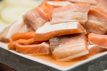 Cut pieces of salmon
