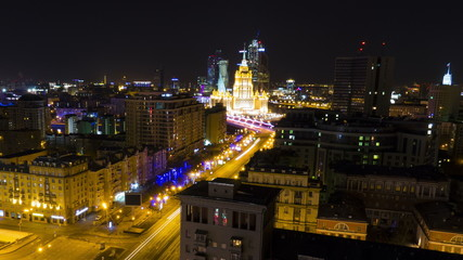 MOSCOW - March 16: (Timelapse) Night traffic ground view of Novy