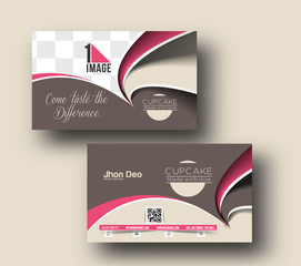 Cupcake Business Card Vector Template.