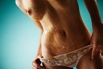 Beautiful woman in white lace panties