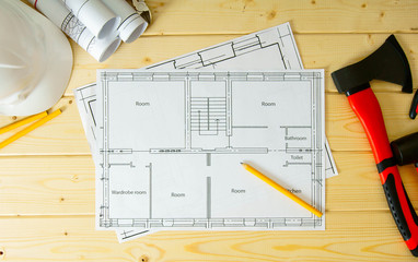 House construction. Drawings for building, helmet and others