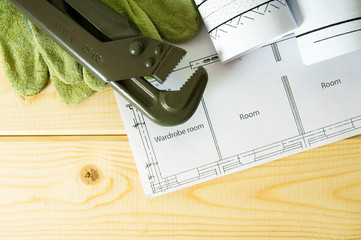 Repair work. Drawings for building and working tools on wooden