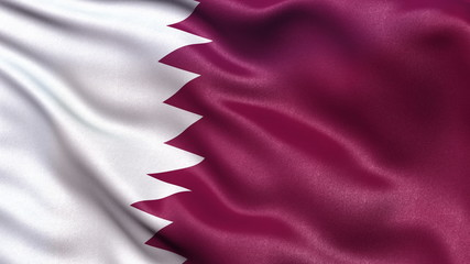 Flag of Qatar waving in the wind. Seamless loop.