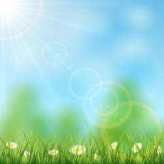 Nature background with Sun and grass