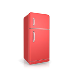 red  fridge on a white background