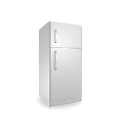 white  fridge on a white background