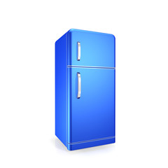 blue fridge on a white background