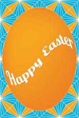 Orange egg easter card on dagger pattern