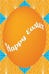 Orange easter egg card on fan pattern