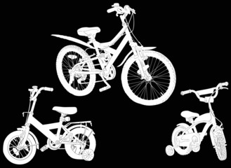 set of three bicycle sketches isolated on black