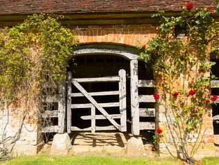 Very old wooden stable door hundreds of years old with red roses