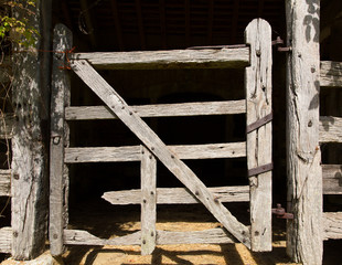 Very old wooden stable door hundreds of years old