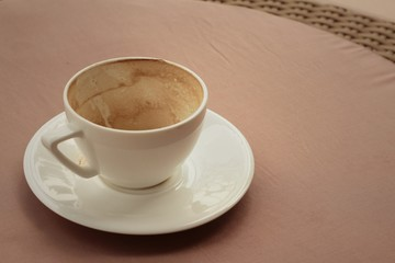 White coffee cup with saucer at the coffee shop