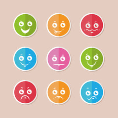 Set of funny colorful emoticons. flat smiley icons