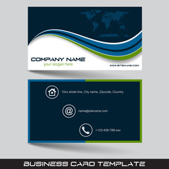 Business card template with world map. Front and back side.