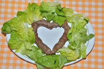 Kebab with green salad