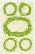 set of wreaths, green stylized leaves