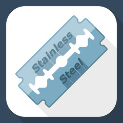 Razor blade icon with long shadow