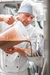 Confectioner making ice cream