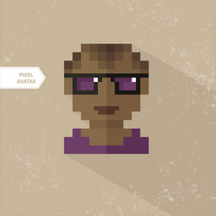 Pixel Avatar African American with glasses, guy. Pixel icon sets