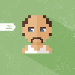 Pixel Avatar Farmer t-shirt, grandfather, old man. Pixel icon se