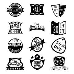 Set of  Sale & Best Offer badges, labels, and logos