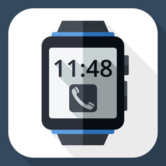 Smart watch icon with long shadow