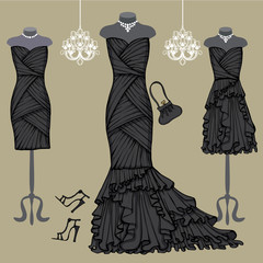 Three black party dresses.Fashion composition