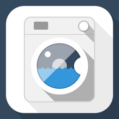 Washing machine flat icon with long shadow