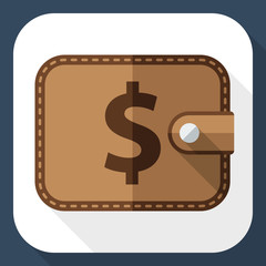 Wallet icon with long shadow