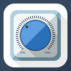 Volume knob icon with long shadow