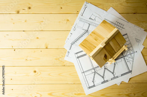 Foto op Plexiglas Wand Many drawings for building and house on wooden background.