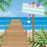 Fototapety Summer : Dock on the Beach with Wood Sign