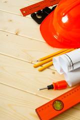 Repair work. Drawings for building, pencils, screw-driver and